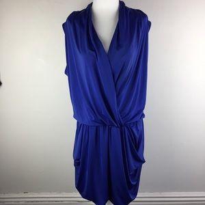 RACHEL Royal Blue Wrap Front Big Pocket Dress